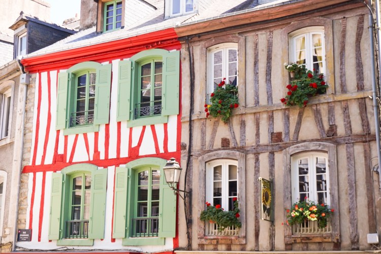Facades of half-timbered houses in Vannes France