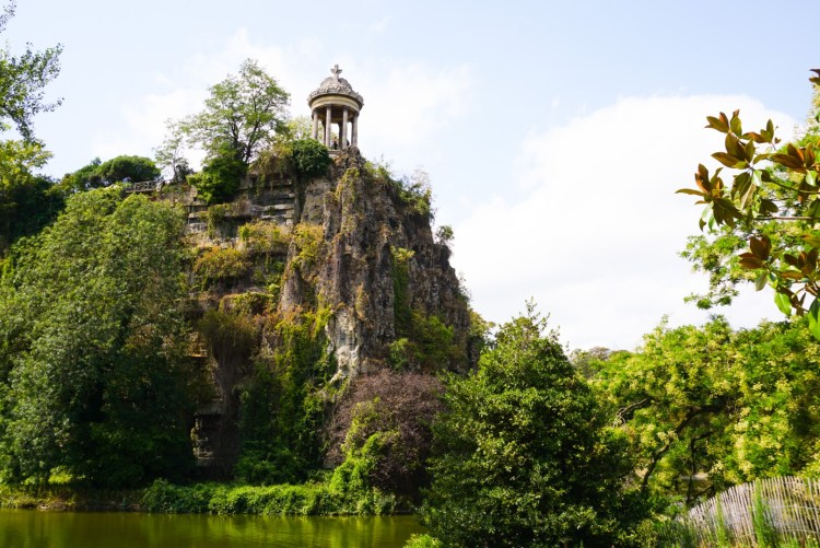 View of Temple de la Sybille at Parc des Buttes Chaumont Paris