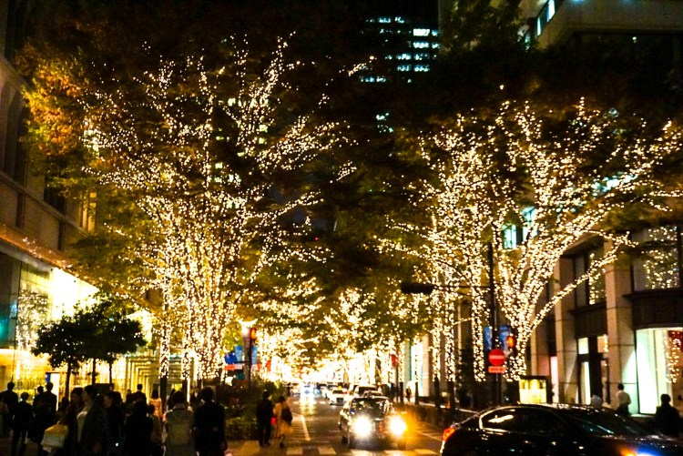 Christmas lights in a street of Manunouchi, Tokyo