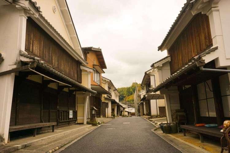 Empty street in village of Uchiko, Shikoku
