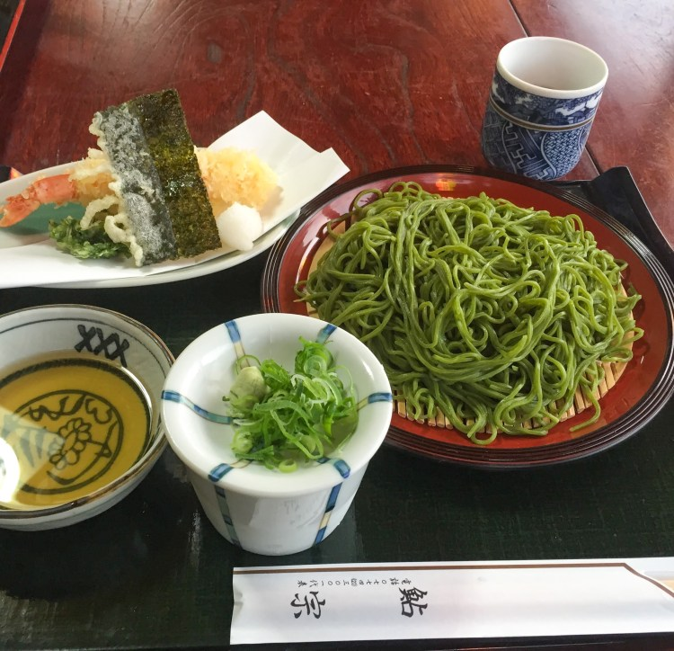 Matcha (green tea) soba, popular Japanese dish in Kyoto