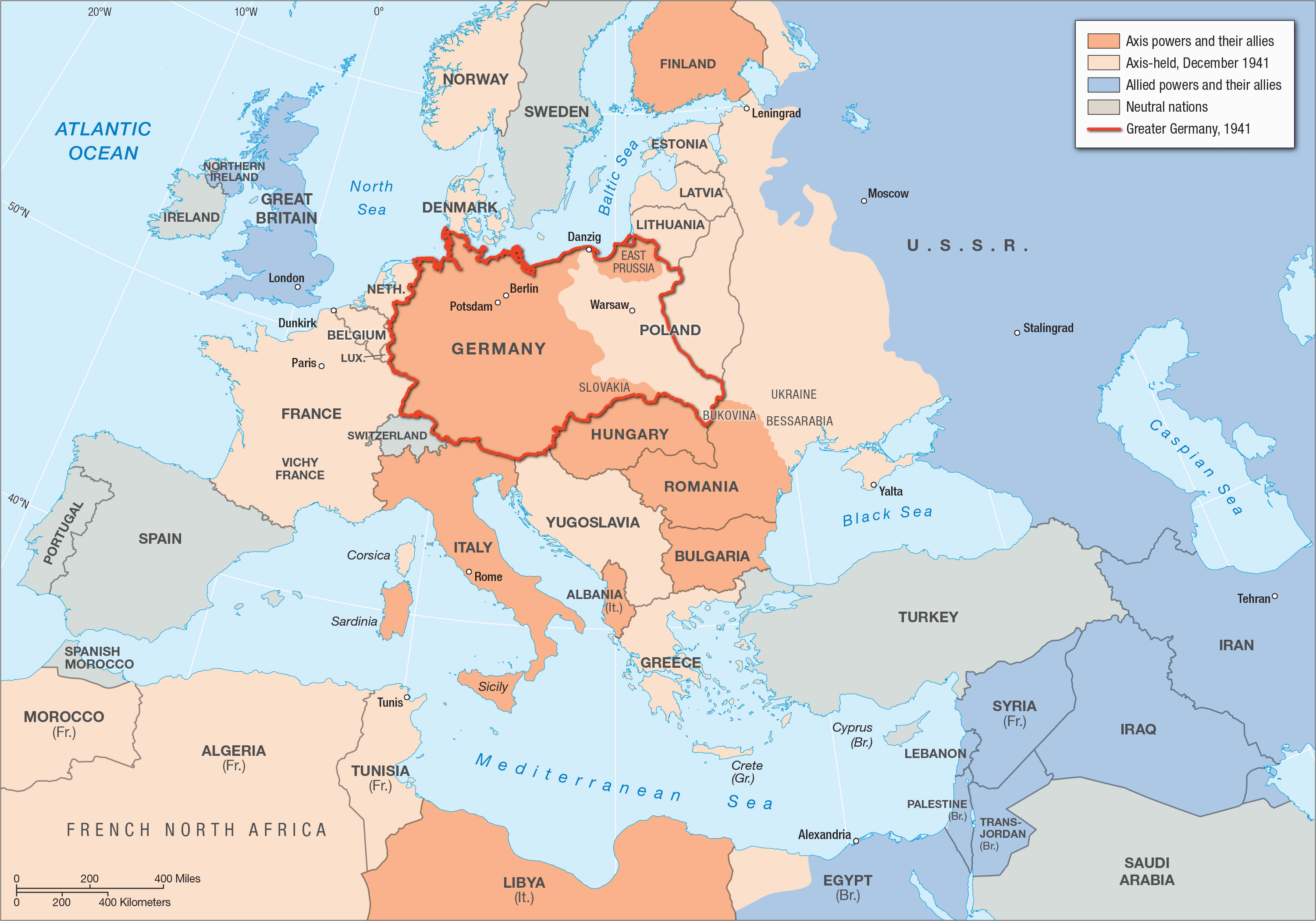 Ww2 In Europe And North Africa Map Wwii Map Of Europe