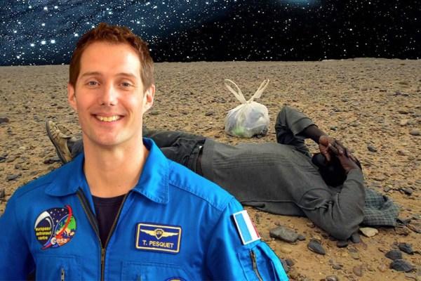 L'astronaute Thomas Pesquet découvre un migrant réfugié sur la planète Mars