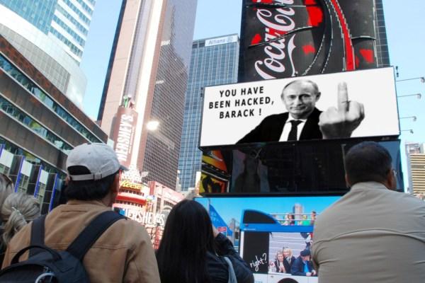 Cyberattaques : Les hackers russes piratent les écrans géants de Time Square et narguent Obama