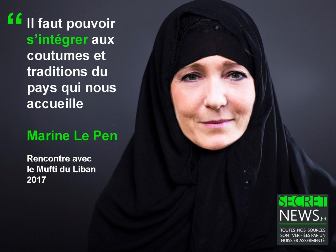 marine-le-pen-hijab-voile-burka-foulard-fn Marine Le Pen accepte finalement de porter un hijab pour rencontrer le mufti du Liban