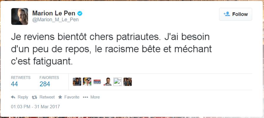 tweet-marion-le-pen-secretnews Marion Maréchal Le Pen internée de force en psychiatrie à l'hôpital Sainte-Anne - Surmenage ? Dépression ?