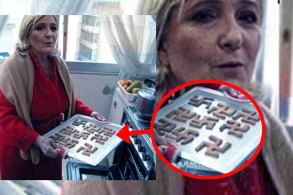 Des biscuits en forme de croix gammées nazies : Marine Le Pen photographiée à son insu dans sa cuisine