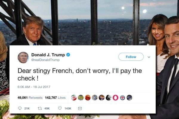 Amusé, Donald Trump propose de payer l'addition du repas à la tour Eiffel