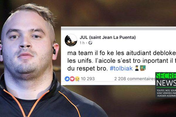 """""""L'aicole s'est tro inportan ma team"""" : Le rappeur JUL demande que les étudiants débloquent les universités"""