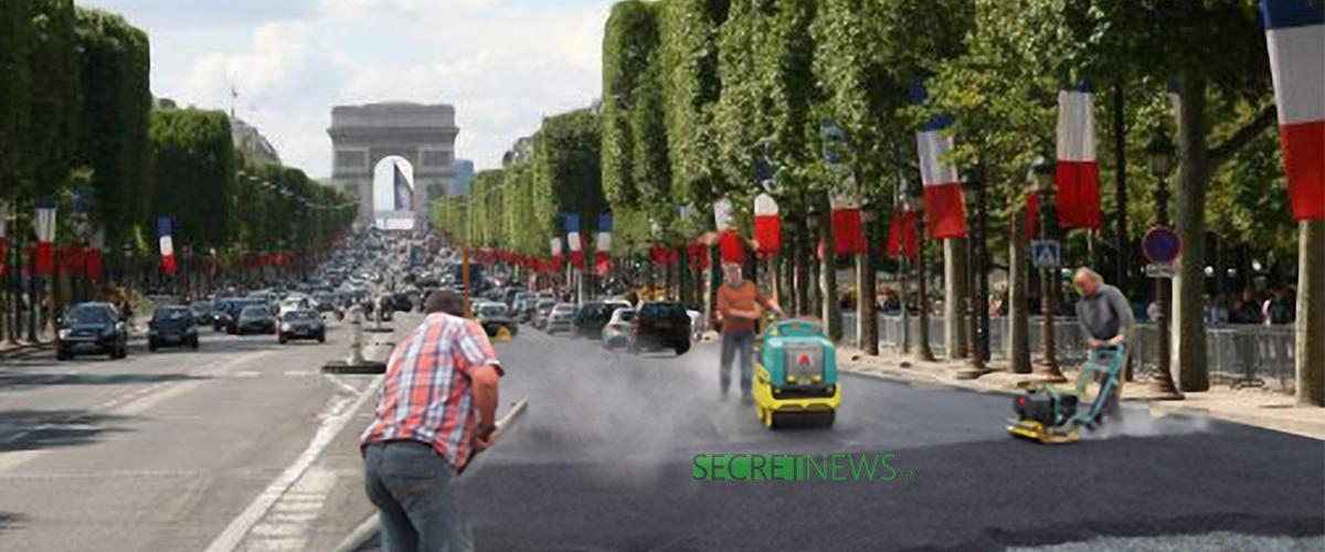 « Ils n'auront plus de pavés à lancer »: Macron fait goudronner les Champs-Élysées pour la manif de samedi