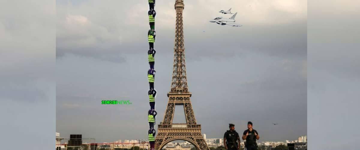 Gilets Jaunes : une pyramide humaine pour arrêter les avions (et faire tomber la tour Eiffel)