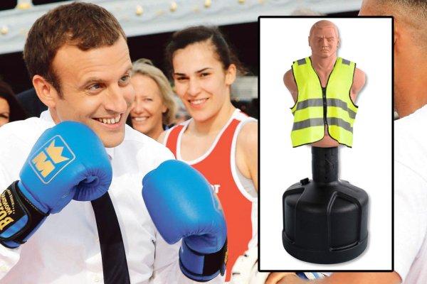 Pour son anniversaire, Macron a reçu un punching-man Gilet Jaune en cadeau