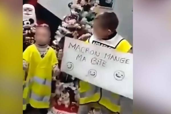 """""""On dit monsieur le président mange ma bite"""" : Macron recadre des enfants Gilets Jaunes"""