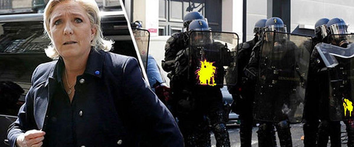Marine Le Pen placée en garde à vue après avoir jeté un pavé sur un CRS
