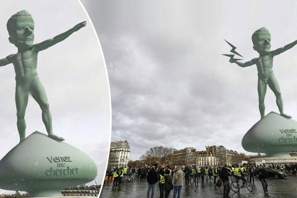 Une statue à la gloire d'Emmanuel Macron érigée Place de la Bastille …