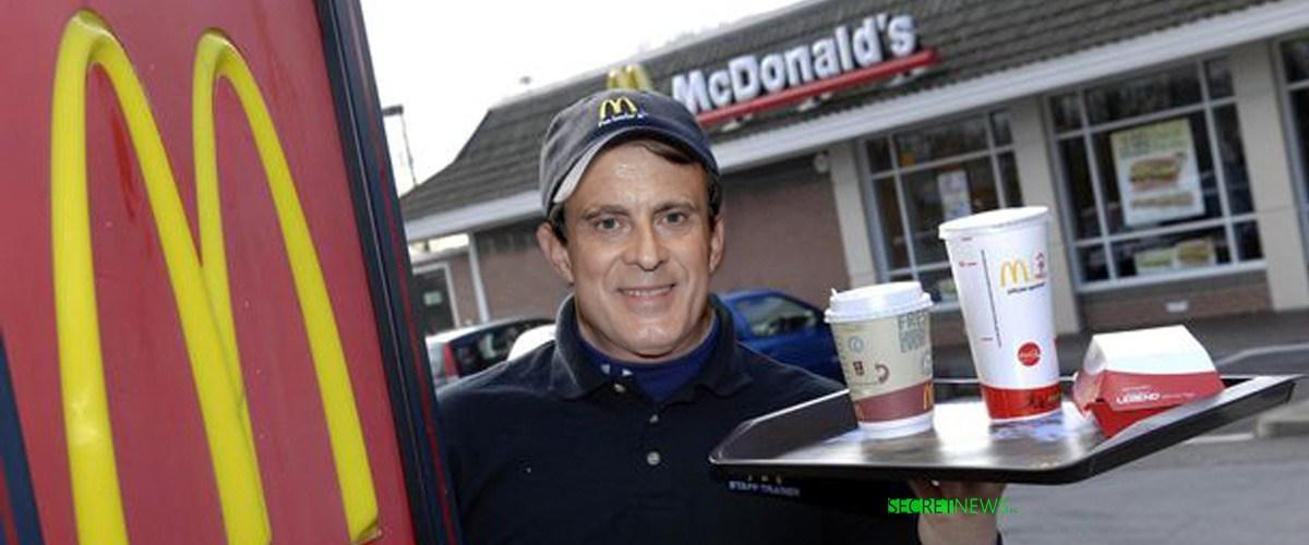 Manuel Valls engagé comme équipier polyvalent dans un McDonald's de Barcelone