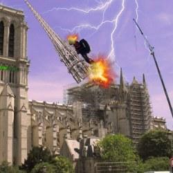 Franky Zapata frappé par la foudre en déposant la nouvelle flèche de Notre-Dame