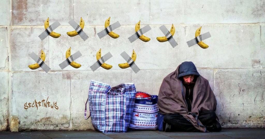 Ce SDF a scotché 10 bananes sur un mur dans l'espoir de devenir millionnaire