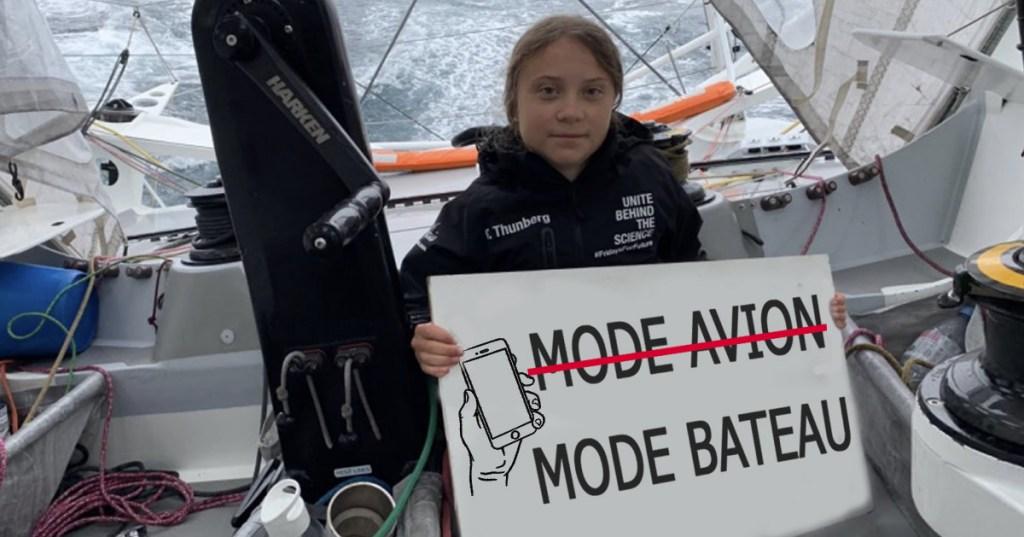 """Greta Thunberg veut que le mode """"bateau"""" remplace le mode avion des smartphones"""
