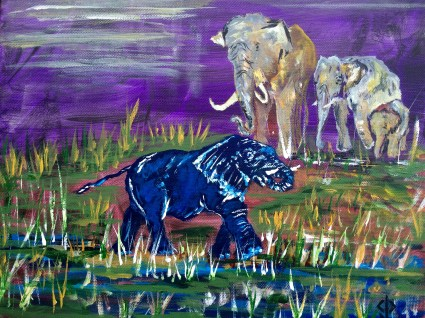 """11x14 Acrylic Painting """"The Blue Elephant in the Room"""""""