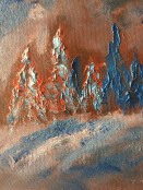 Experimenting with palette knives and dropping gobs of paint onto the canvas.