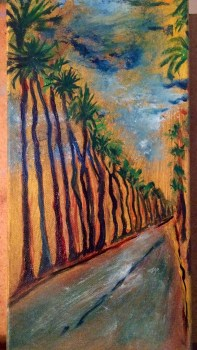 Palm trees of Santa Monica. Inspired by 10th & California in Santa Monica, where a row of palm trees adorn both sides of the street (oils).