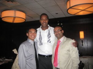 Clearly I am the same height as my friends Aminu and Ray