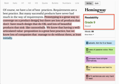 The image is a screenshot of Hemingway, showing that simply fixing the first very hard to read sentence has improved the paragraph's overall readability.
