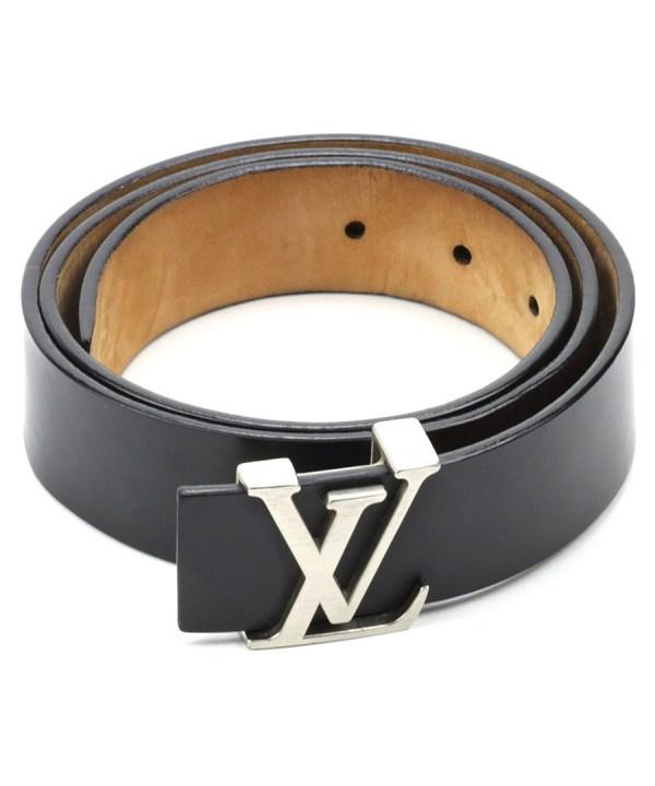 Louis Vuitton Black Leather Lv Buckle Belt Designer