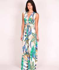 Forever Unique Aloha Tropical Print Dress in Green