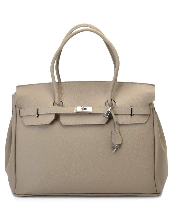 33d715c08bb2 Taupe Leather Handbag. Taupe Leather Handbag. Leather Top Handle Bag