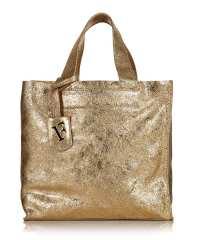 Furla Divide gold leather shopper bag, Designer Bags Sale