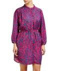 Chlo Pink Floral Collarless Shirt Dress Designer