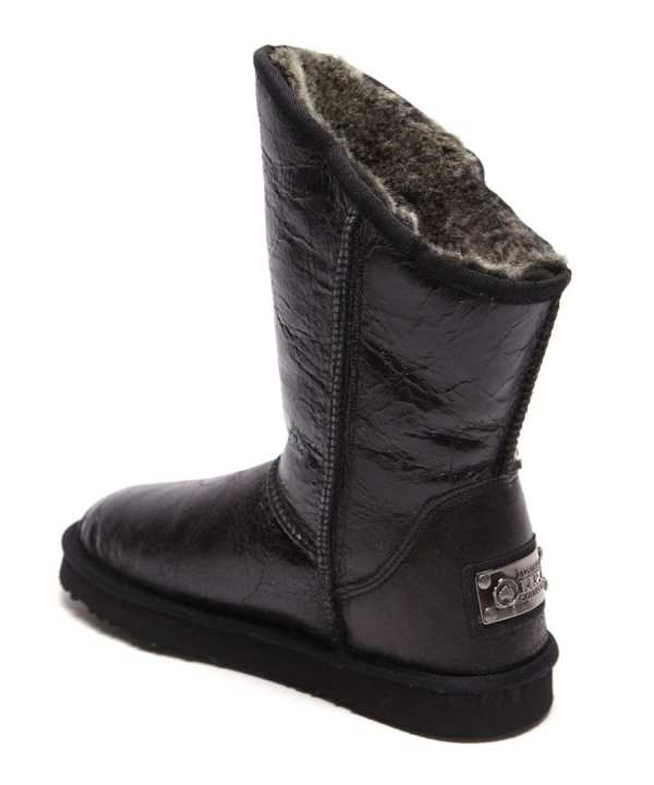 Angel Short Leather Boots In Black