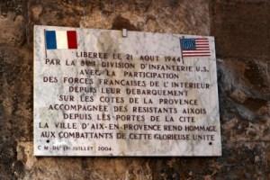 plaque commémorative de la Libération d'Aix-en-Provence le 21 aout 1944