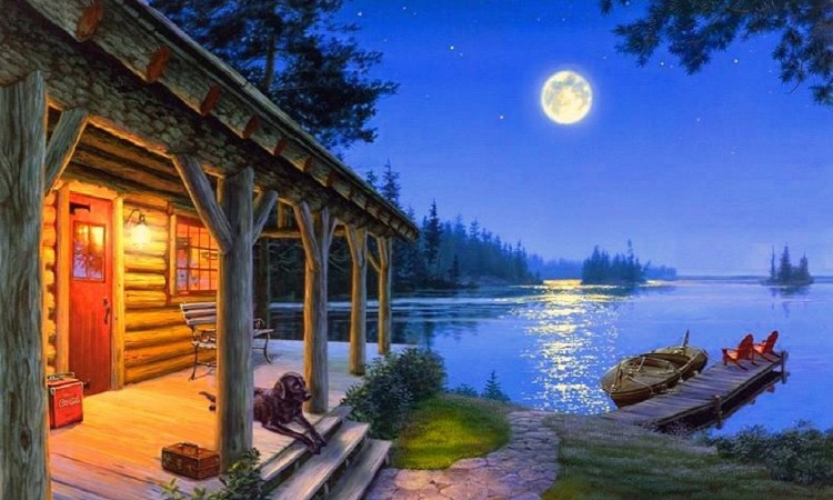Cabin by the lake.