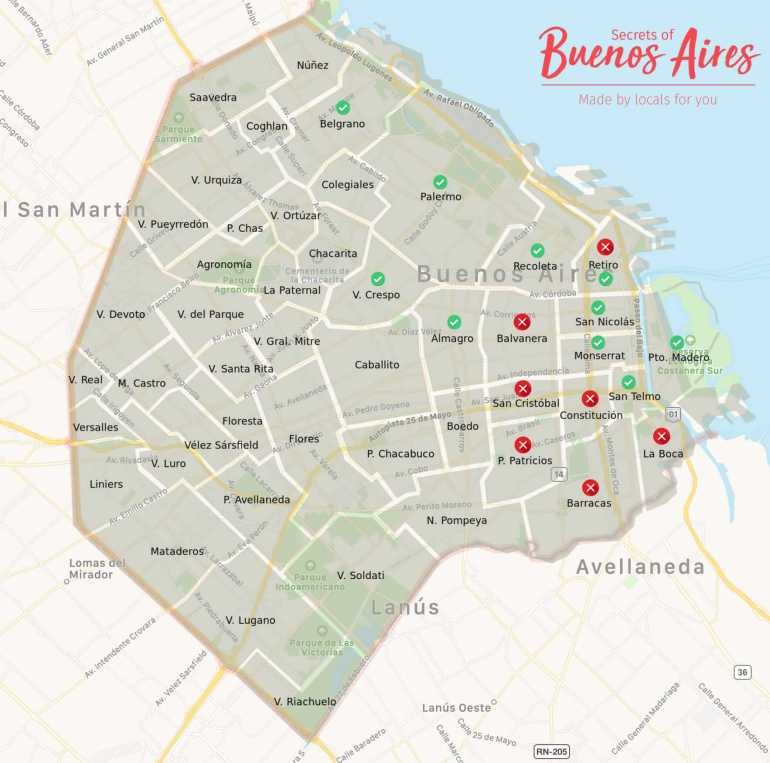 Where to stay in Buenos Aires map