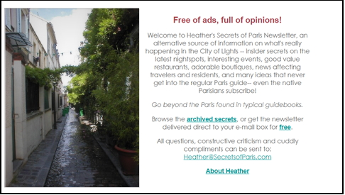 Screenshot of first Secrets of Paris website