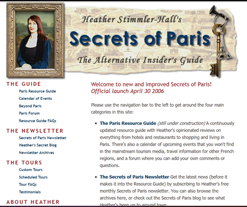 Mona Lisa banner on early Secrets of Paris website