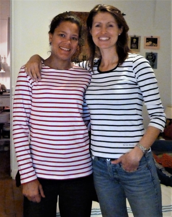 Amy and Heather in striped shirts