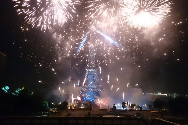 fireworks on the Eiffel Tower