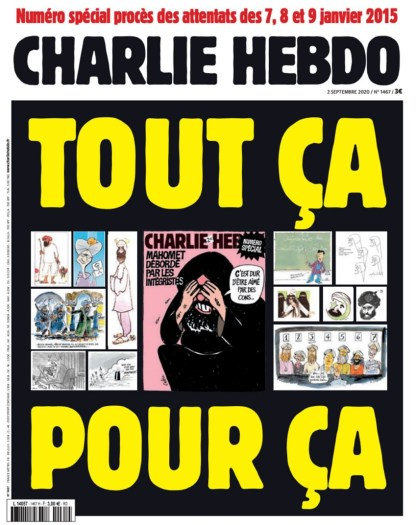 """Charlie Hebdo cover """"all this for this"""""""