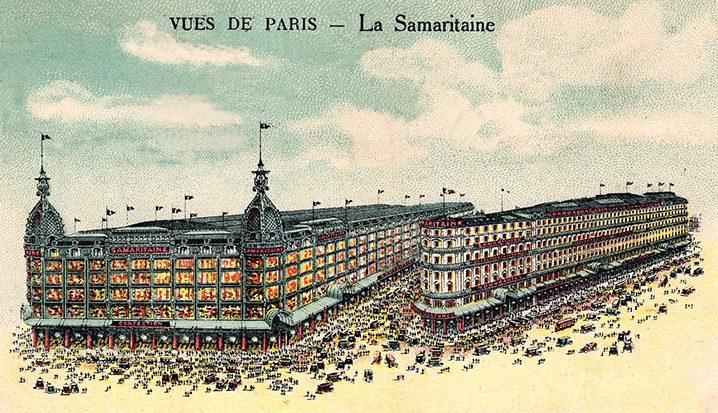 Historic postcard of La Samaritaine in early 1900s
