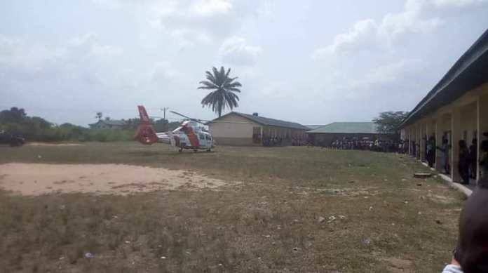 Chartered helicopter used to fly his mother`s casket into the funeral ground in Obiaruku