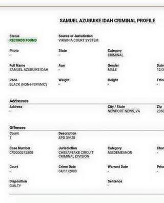 Idah Criminal Record