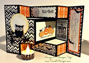 By Debbie Mageed, Halloween, Fun Fold, Tri-Shutter Fold, Stampin' Up!, Halloween Happiness, Best of Halloween, Mixed Medley, Halloween Bash, Notable Alphabet, Owl Builder Punch