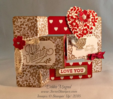 Bloomin' Love, A Nice Cuppa, Merry Everything, Valentine's Tri-Shutter Card Fold, Left view