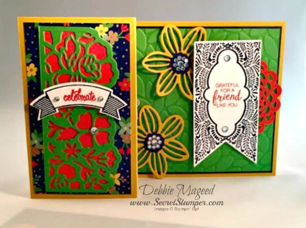 Beautiful Banners, Thoughtful Banners, Falling Flowers, Detailed Floral Thinlits, Fun Fold Card, Stampin Up, 2 panels