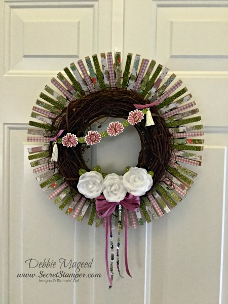 By Debbie Mageed, Special Reason, Succulent Garden, Clothespin, Wreath, Home Decor, Mother's Day, Stampin Up