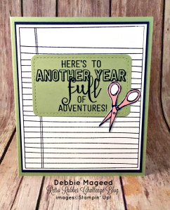 By Debbie Mageed, Apple of My Eye, Balloon Adventures (inside), Coffee Café, Crafting Forever,Writing Notes, Back to School, Stampin Up